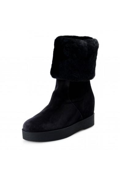 Salvatore Ferragamo Women's FALCON Leather Real Fur Boots Shoes
