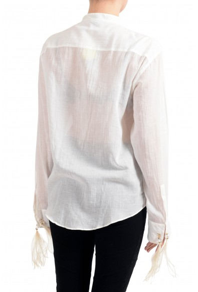 Roberto Cavalli Women's Off White Linen Long Sleeves Blouse Top: Picture 2