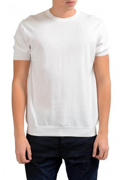 Malo Men's White Crewneck Short Sleeve Knitted Casual Shirt