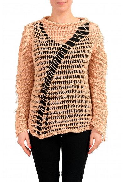 Maison Margiela 1 Beige Knitted Distressed Women's Pullover Sweater