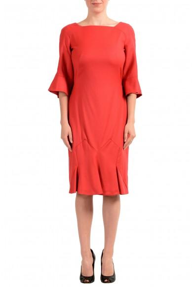 John Galliano Women's Coral Red Wool 3/4 Sleeve Flare Dress