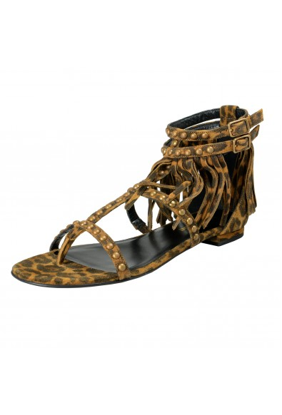 Saint Laurent Women's Suede Leather Ankle Strap Flat Sandals