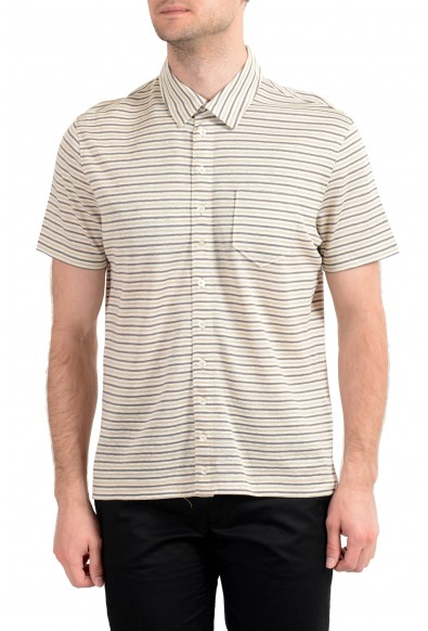 Malo Men's Multi-Color Striped Linen Short Sleeve Casual Shirt