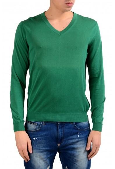 Malo Men's V-Neck Light Forest Green Sweater