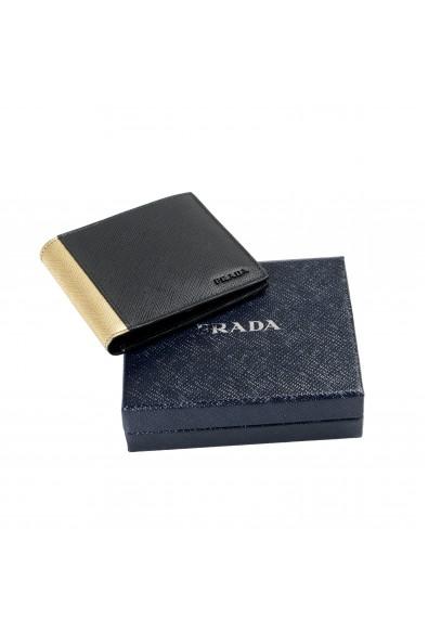 Prada Men's Black & Gold Textured Leather Bifold Wallet: Picture 2
