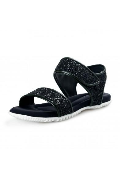 Marni Women's Sparkle Black Leather Canvas Sandals Shoes