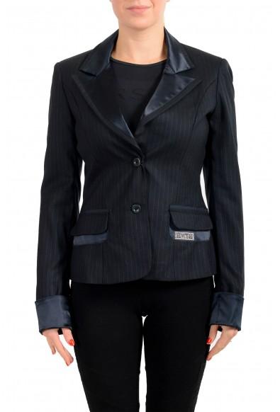 Exte Women's Black 100% Wool Striped Two Button Blazer