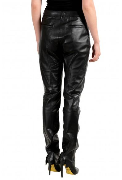 Versace Women's Black 100% Leather Pants: Picture 2