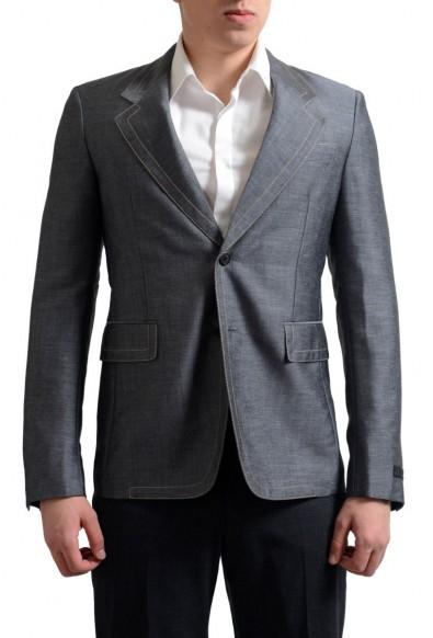 Prada Men's Gray Mohair Wool Two Button Sport Coat Blazer