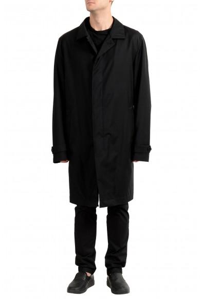 """Hugo Boss """"T-Garrick"""" Men's 100% Wool Black Lined Trench Coat"""