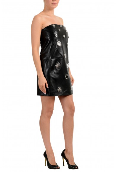 Versus by Versace Women's 100% Leather Black Strapless Mini Dress: Picture 2