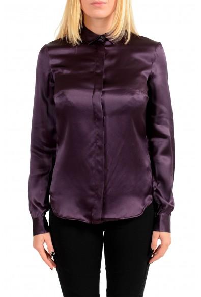 Just Cavalli Women's Purple 100% Silk Button Blouse Top Shirt