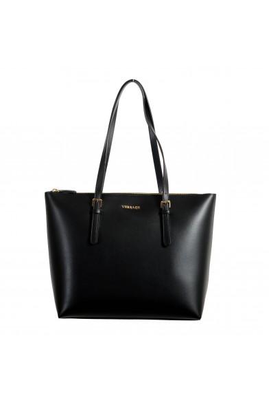 Versace Women's Black Leather Tote Shoulder Handbag Bag