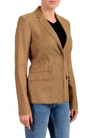 Versace Women's Sand Brown Silk Two Button Blazer Jacket: Picture 2