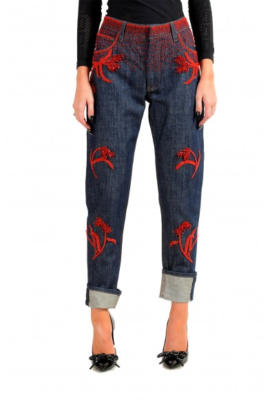 Prada Women's Blue Embroidered Straight Jeans