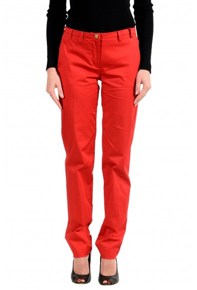 Versace Collection Women's Red Stretch Casual Pants