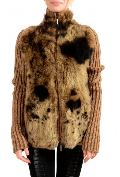 Roberto Cavalli Women's Real Fur Leather 100% Wool Knitted Jacket