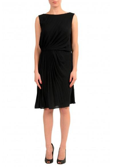 Maison Margiela 1 Women's Black Sleeveless Sheath Pleated Dress