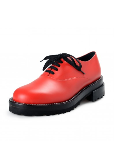 Marni Women's Red Leather Oxfords Lace Up Shoes