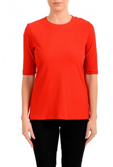 "Hugo Boss Women's ""Eodara"" Red Stretch Short Sleeve Blouse Top"