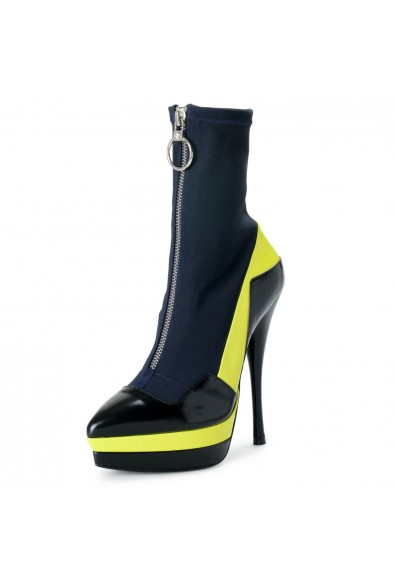 Versace Women's Multi-Color Leather Canvas High Heel Boots Shoes