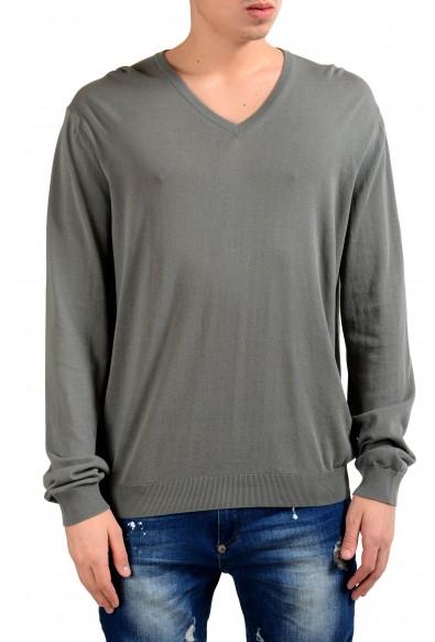 Malo Men's Earth Stone Gray V-Neck Pullover Light Sweater