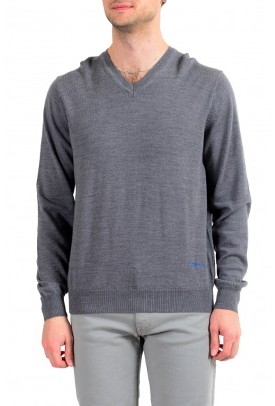 Just Cavalli Men's 100% Wool Gray V-Neck Sweater