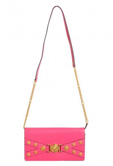 Versace Women's Tribute Pink Leather Clutch Shoulder Bag