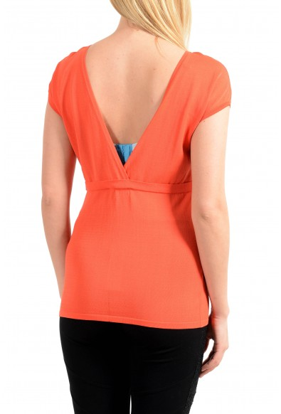 Versace Collection Women's Orange Stretch Blouse Top: Picture 2