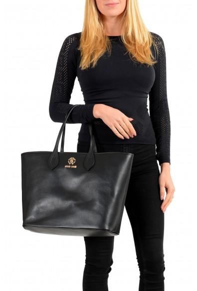 Roberto Cavalli Women's Black Leather Shoulder Handbag Tote Bag: Picture 2