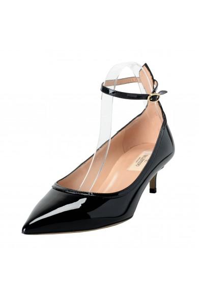 Valentino Garavani Women's Patent Leather Black Ankle Strap Kitten Heels Shoes