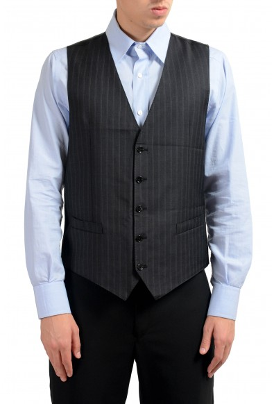 Dolce & Gabbana Men's 100% Wool Gray Striped Button Up Dress Vest