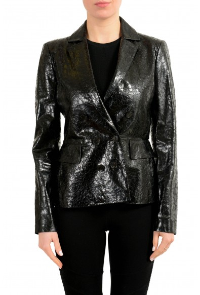 Gucci 100% Leather Black Double Breasted Women's Blazer