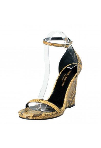 Saint Laurent Women's Python Skin Wedges Ankle Strap Sandals Shoes