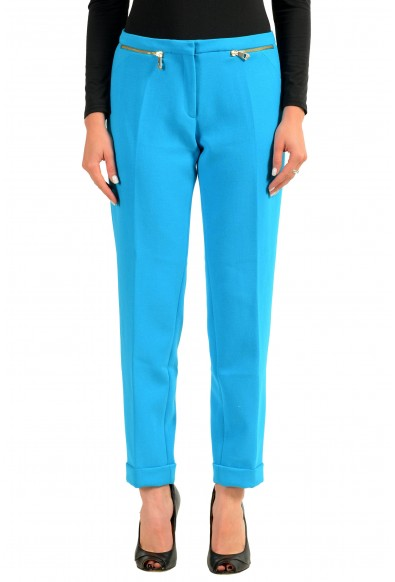 Versace Collection Women's Blue Stretch Casual Pants