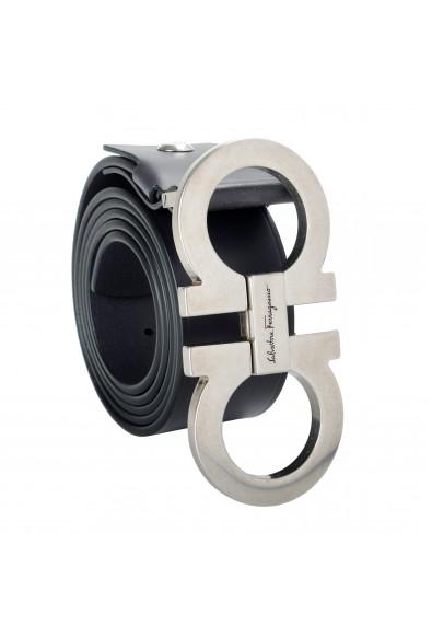Salvatore Ferragamo Men's Black 100% Leather Buckle Decorated Belt