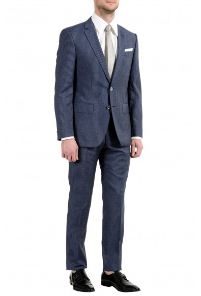 "Hugo Boss ""Hutson5/Gander3"" Men's Silk Wool Slim Striped Blue Two Button Suit: Picture 2"