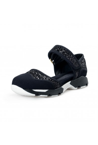 "Marni Women's ""Mary Jane"" Sparkle Black Leather Canvas Sandals Shoes"