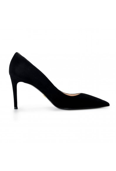 Prada Women's Black Suede Leather High Heel Classic Pumps Shoes: Picture 2