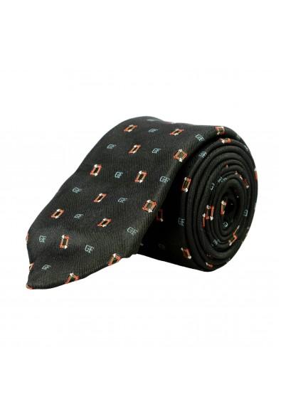 Gianfranco Ferre Men's Green Logo Print 100% Silk Neck Tie