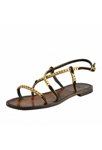 """Emanuela Caruso """"Capri"""" Women's Chain Trimmed Flat Sandals Shoes"""