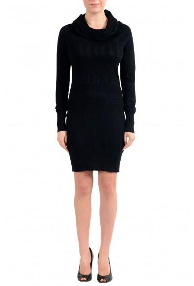 John Galliano Women's Black 100% Wool Knitted Long Sleeve Dress