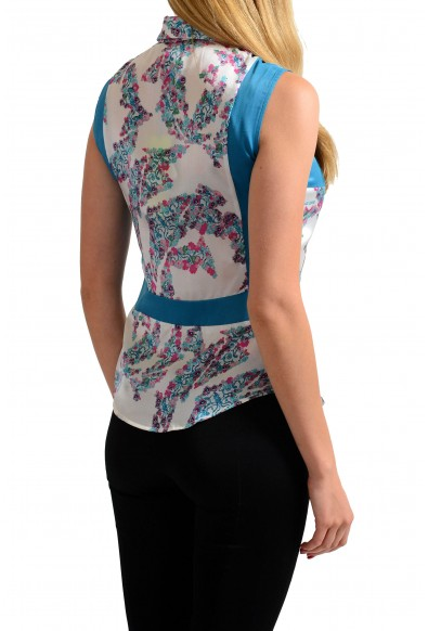 Versace Jeans 100% Silk Multi-Color Floral Sleeveless Button Down Shirt: Picture 2