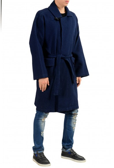 Malo Men's Blue One Button Belted Coat : Picture 2