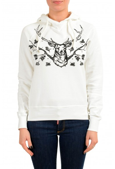 Dsquared2 Women's White Embroidered Hoodie