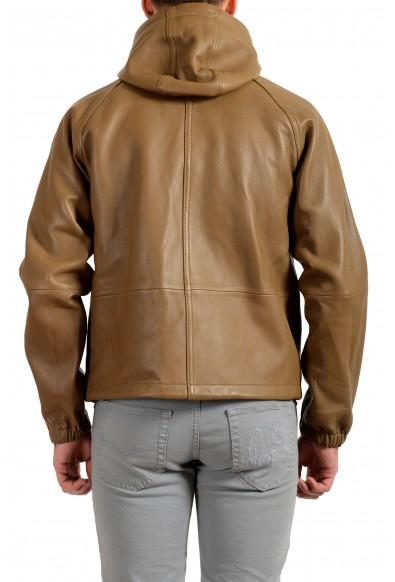 """Hugo Boss Men's """"Malvik"""" 100% Leather Beige Hooded Bomber Jacket : Picture 2"""