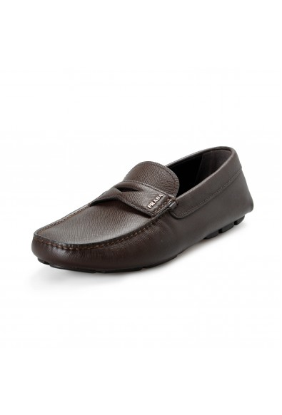 Prada Men's 2DD158 Brown Textured Leather Loafers Slip On Shoes