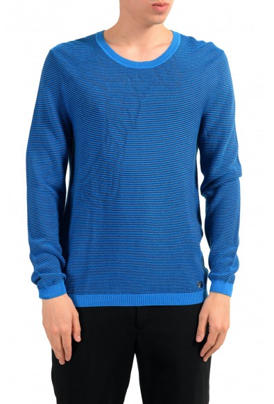 Versace Collection Men's Crewneck Blue Ribbed Sweater