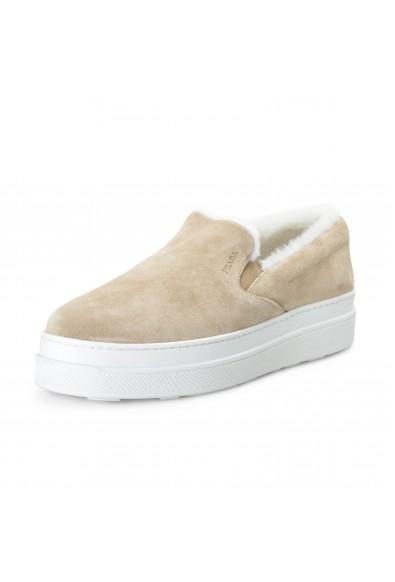 Prada Women's Beige Real Fur Suede Leather Platform Loafers Shoes