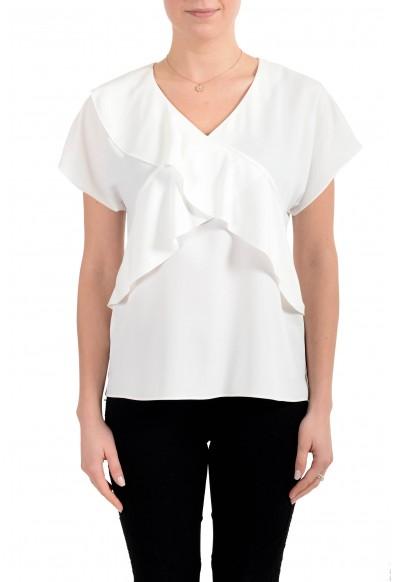 """Hugo Boss Women's """"Inona"""" White Short Sleeve Blouse Top"""